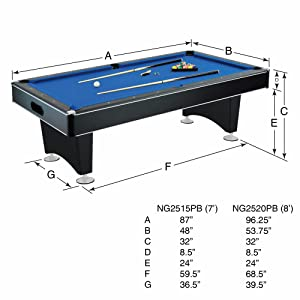 Hathaway hustler 7 39 8 39 pool table with blue - 8 foot pool table dimensions ...