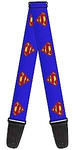 Superman Logo Shield Red Yellow Blue S Super DC Comics Guitar Strap Acoustic Electric