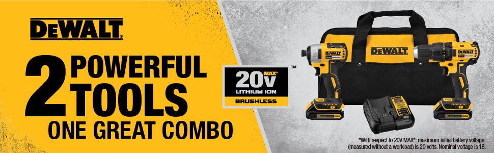 dewalt combo kit, dewalt brushless drill, dewalt 20v combo kit