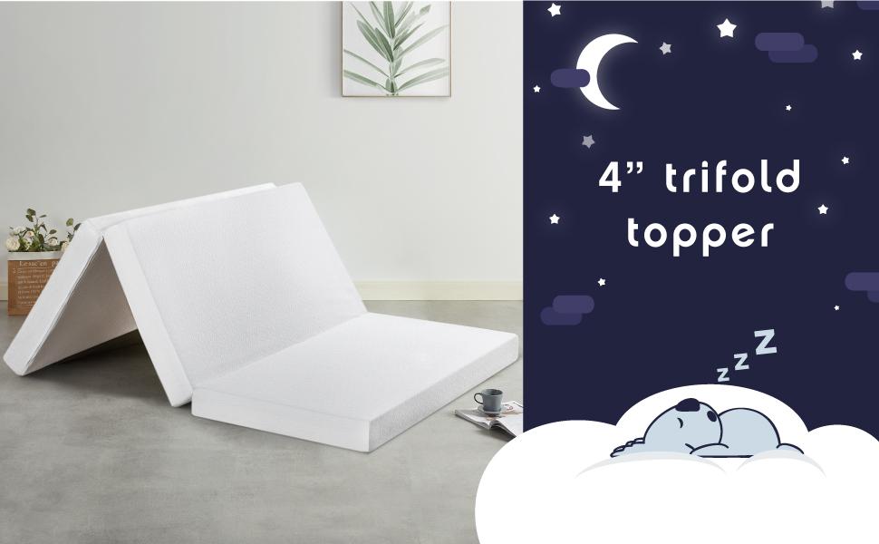 Trifold Topper, 4-inch trifold topper, camping, glamping, RV trips, memory foam, Pressure Rellef
