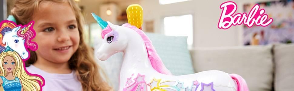 Barbie Dreamtopia Unicorno Pettina & Brilla con luci e suoni, bianco con criniera e coda rosa