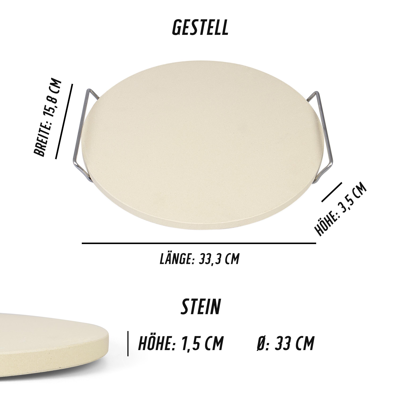 rustler pizzastein brotbackstein 33 cm mit edelstahl gestell garten. Black Bedroom Furniture Sets. Home Design Ideas
