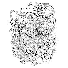 Magic, trees, animals, vines, leaves, colouring, lines, pens, pencils, monkey,  scene, mindfulness