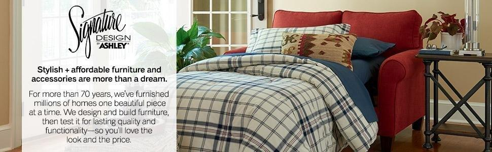 Ashley Furniture Signature Design - Winnsboro Traditional Style Faux Leather Sofa - 7 Back Pillows - Vintage