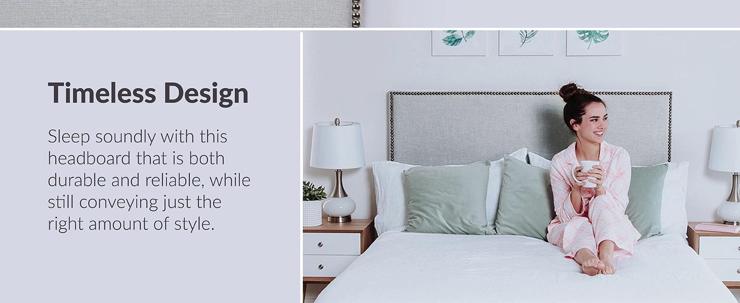 LexMod Region Queen Nailhead Upholstered Headboard MOD-5215-Gray MOD-5215-GRY