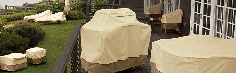 Veranda Patio Square Table and Chair Set Cover with Umbrella Hole