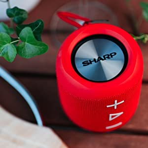 Sharp Gx Bt180 Rd Stereo Bluetooth Lautsprecher Kräftiger Bass Hochdynamischer Klangbereich 10 Stunden Spielzeit Staub Spritzwassergeschütz Mikrofon Für Telefonate Google Siri Rot Audio Hifi