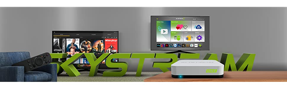 skystream, streaming media player, tv box, streaming tv, android tv box, android tv