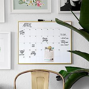 u brands, magnetic monthly calendar, dry erase board, dry erase markers