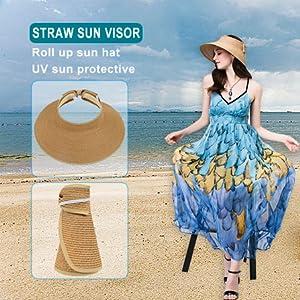 Women Summer Roll Up Packable Wide Brim Sun Visor Straw Hat Beige at ... d5a55bcfdd97