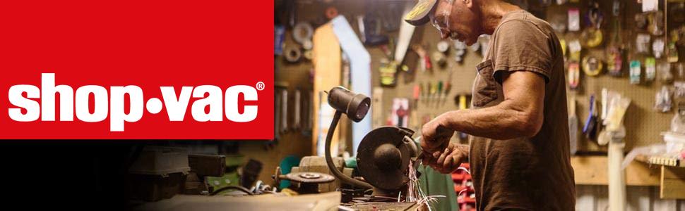 ShopVac - Logo header, man using buzzsaw and machinery in garage