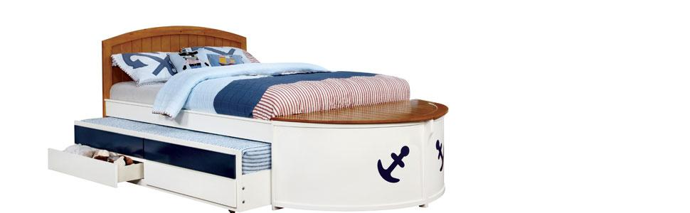 Boat Bed With Trundle And Toy Box Storage: Amazon.com: Furniture Of America Youth Boat Design Bed