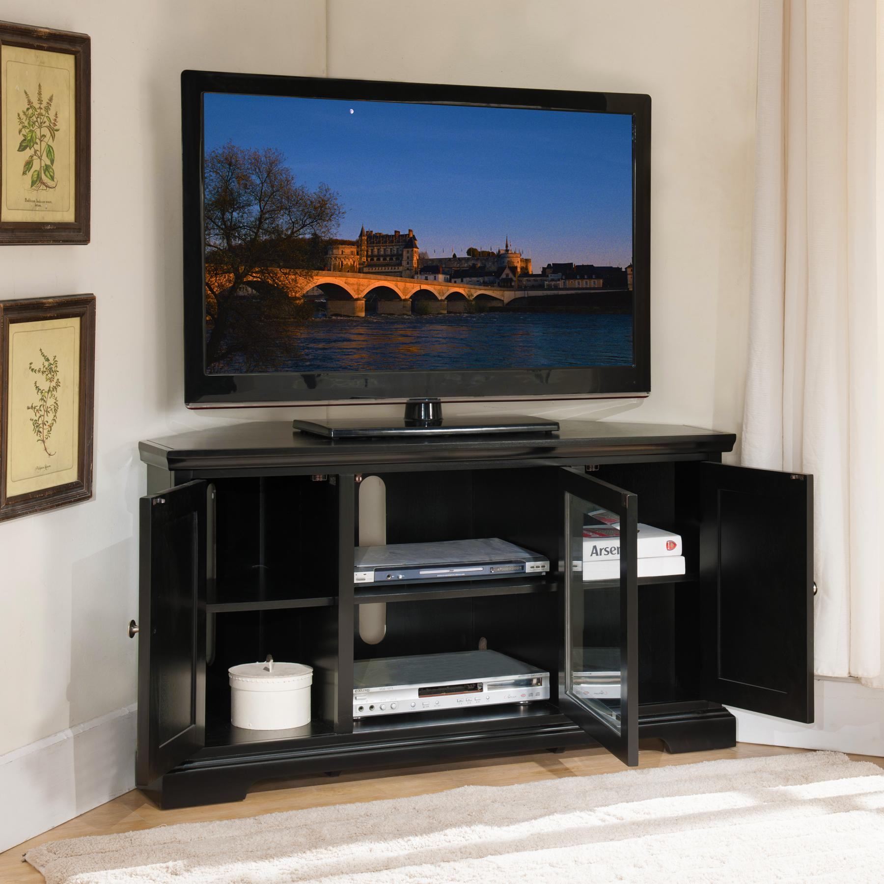 leick black hardwood corner tv stand 56 inch. Black Bedroom Furniture Sets. Home Design Ideas