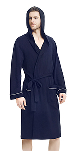 U2SKIIN Mens Cotton Robe Lightweight Knit Bathrobe