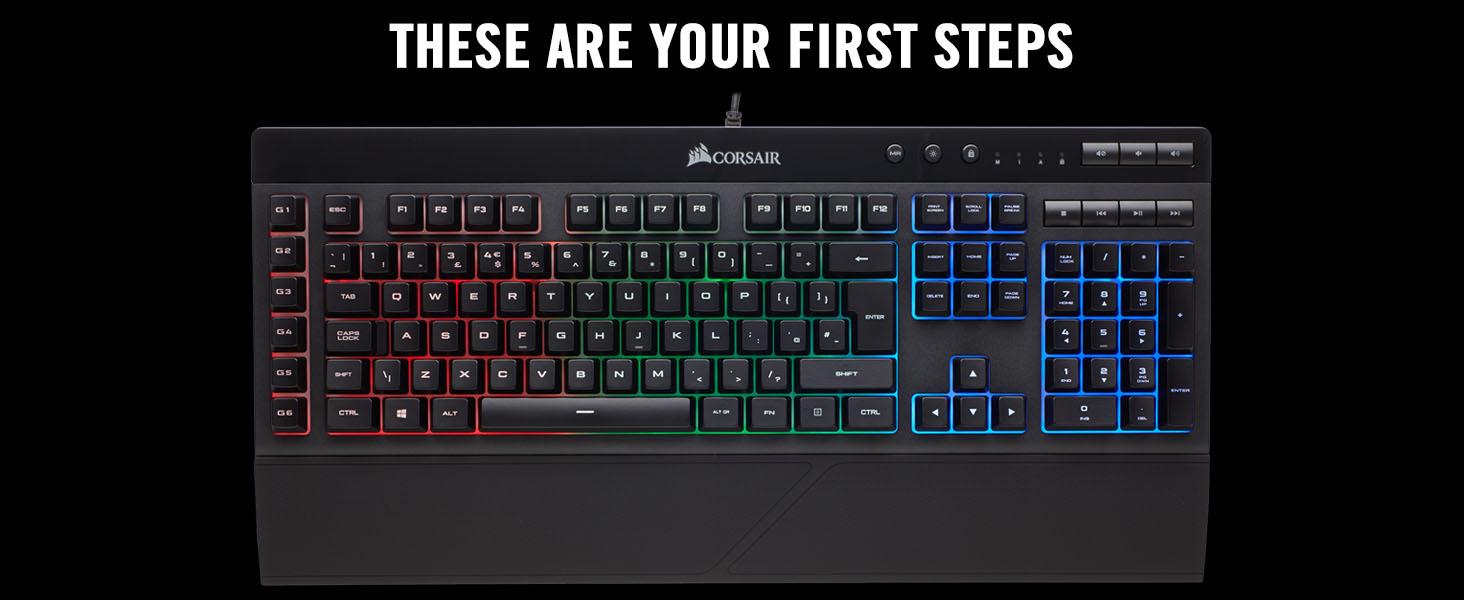 Corsair K55 RGB Membrane Gaming Keyboard (6 Programmable Macro Keys, 3-Zone  RGB Backlighting, Multimedia Controls, UK Layout) - Black