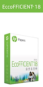 HP Papers EcoFFICIENT18 ream of 500 sheets of 18lb lighter-weight paper for increased efficiency