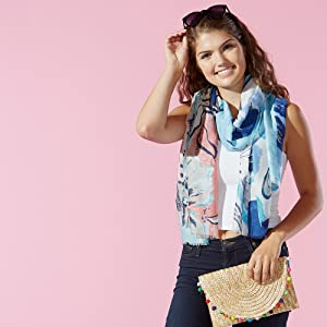 Tickled Pink Blue Floral Summer Scarf paired with Tickled Pink clutch