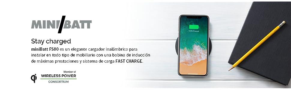 Minibatt - Cargador inalámbrico Qi para mobiliario: Amazon ...