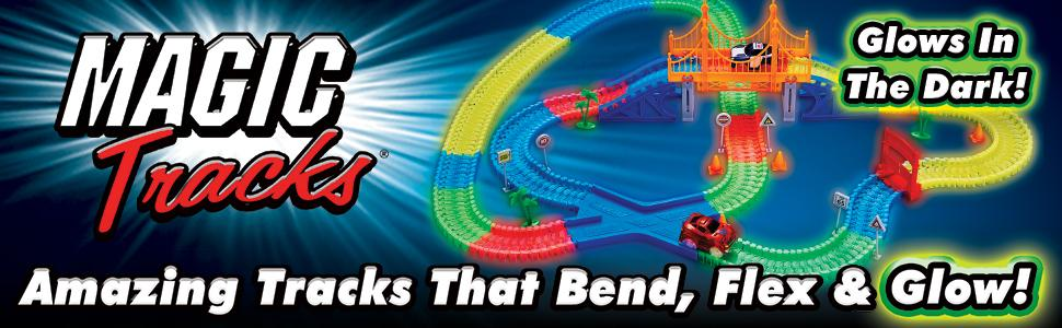 Magic tracks À faire soi-même 220 Glow in the dark DEL Light Up race car Bend Flex Racetrack