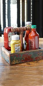 caddy, wood, reclaimed, rustic, get, g.e.t. enterprises, condiment, caddy, ketchup, holder, modern