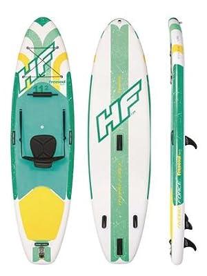 Bestway Freesoul Tech 65310 - Tabla inflable de paddle surf con remo de aluminio, blanco y verde (SUP kit con correa, bomba de hinchado con manómetro ...