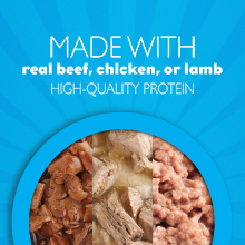 Made with real beef, chicken or lamb for high quality protein