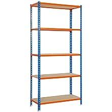 naranja y madera 5//400 mm Azul SimonRack SI443 Kit Estanter/ía con 5 Estantes