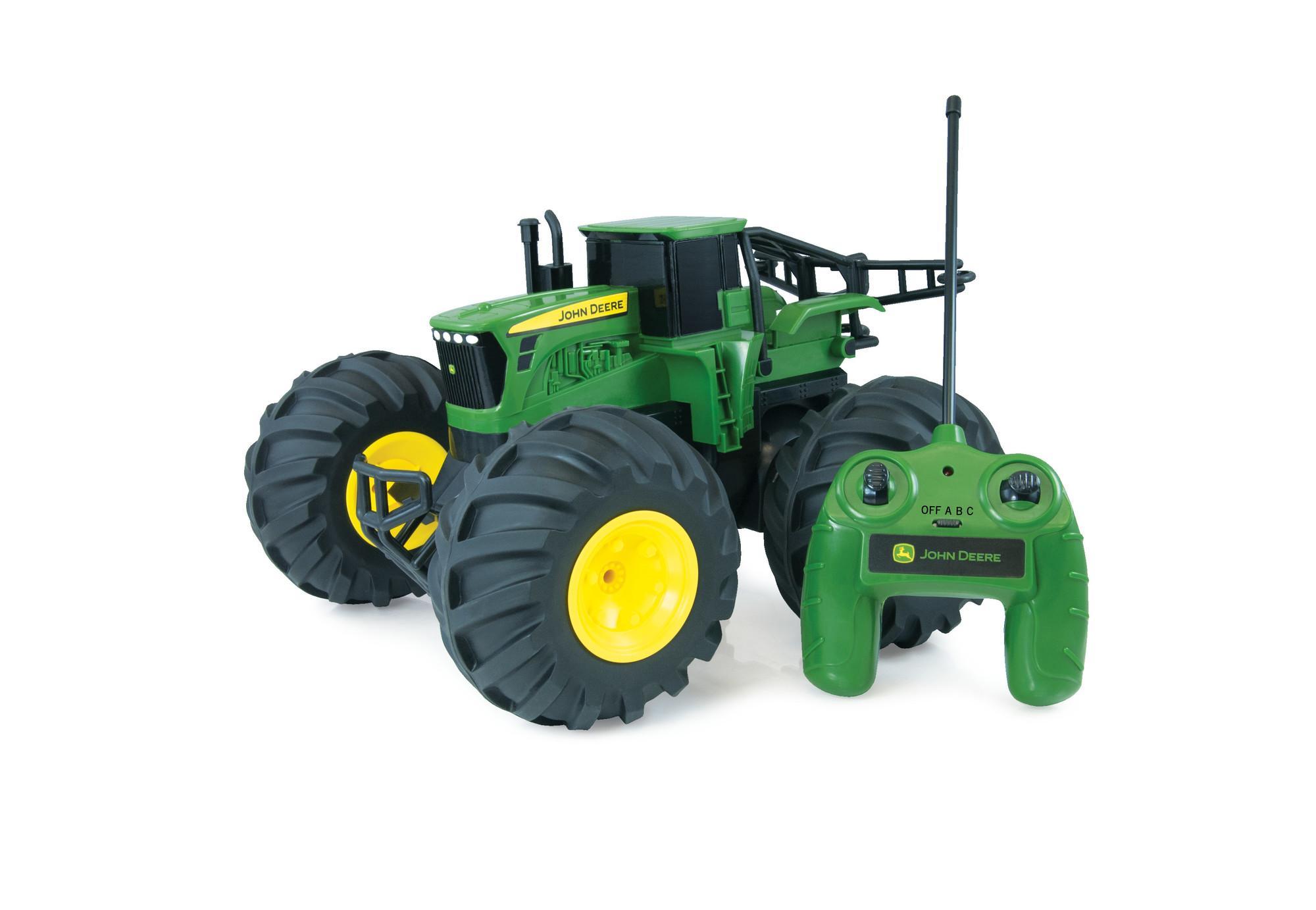 tomy traktor rc john deere monster treads in gr n robuster und flexibler ferngesteuerter. Black Bedroom Furniture Sets. Home Design Ideas