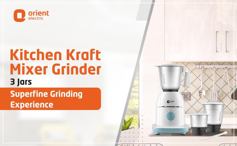 Orient Electric Kitchen Kraft MGKK50B3 Mixer Grinder, 500W, 3 Jars (White) SPN-FOR1