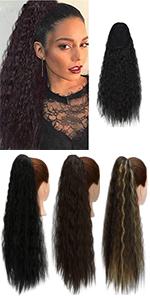 Long Curly Drawstring Ponytail