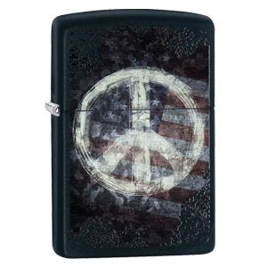 black matte, matte lighter, zippo lighter, peace sign, peace on flag, american flag lighter