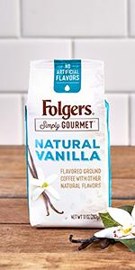 Folgers, vanilla flavored coffee, ground coffee, folgers coffee
