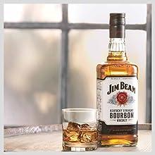 Jim Beam, whisky, bourbon, kentucky, USA, white, malt, straight, drink, glass, rocks, food, rye, jb