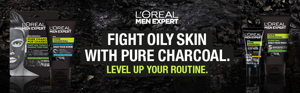 L'Oreal Men Expert, Pure Charcoal, Charcoal, Oily Skin, Sebum, Anti Shine, Anti Dirt, Tissue Mask