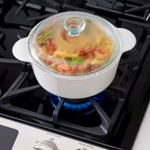 Casserole and glass lid are dishwasher, freezer, oven and microwave safe.