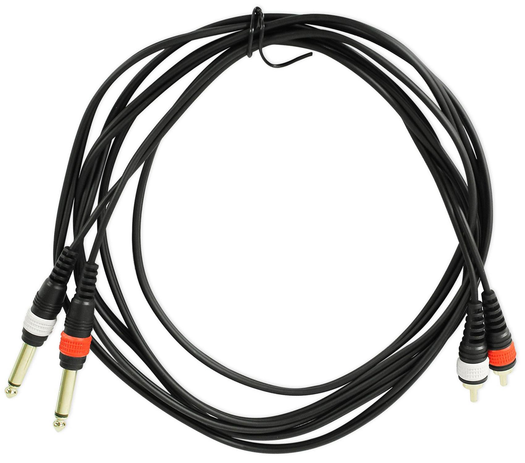 Rockville RCDR3RR 3-Feet Dual RCA to Dual RCA Right Angle Cable 100-Percent Copper