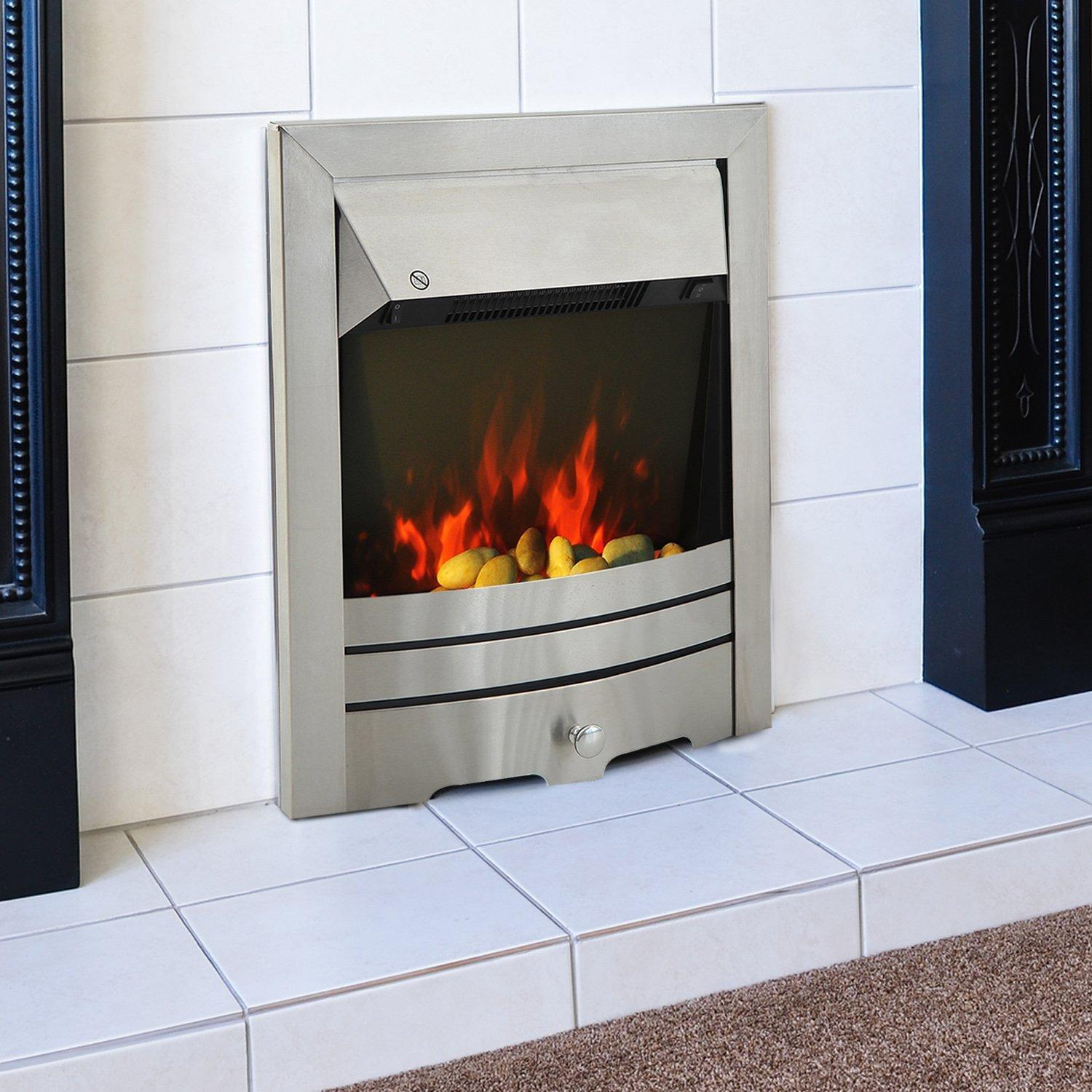 Homcom 2kw Stainless Steel Electric Fireplace Pebble
