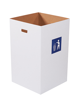White 40 Gallon Corrugated Trash Can with Waste Logo