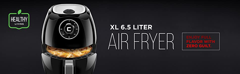 amazon com chefman 6 5 liter 6 8 quart air fryer with space saving