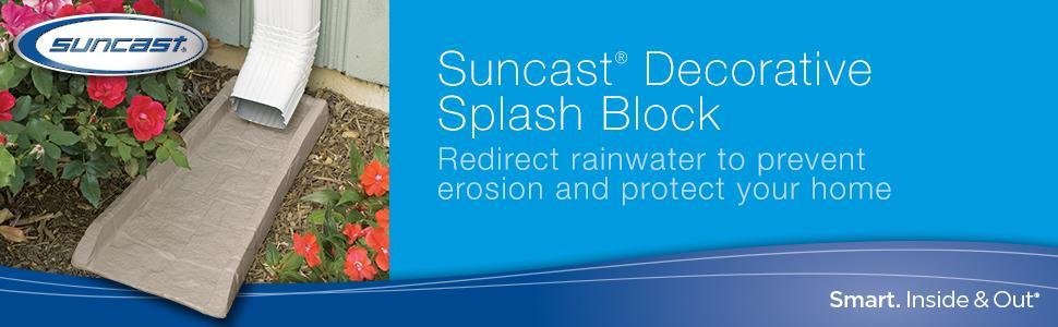 Suncast SB24 Rain Gutter Downspout Splash Block, Light Taupe