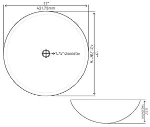Specs for round sink, travertine vessel