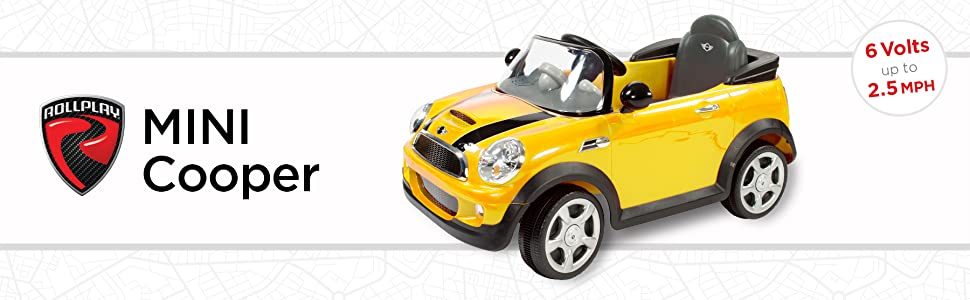 Rollplay 6V Mini Cooper Kids Ride-On Car - For Boys & Girls Ages 3 & Up - Battery-Powered Ride On Toy - Yellow