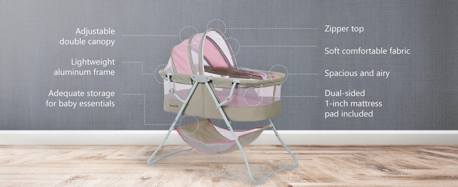 karley bassinet, breathable bassinet, bassinet with mesh, light bassinet, foldable bassinet