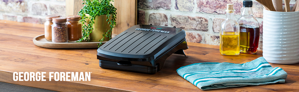 George Foreman 25800 Small Fit Grill - Versatile Griddle, Hot Plate and Toastie Machine, Black
