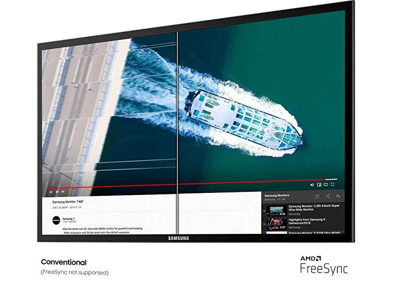 Side-by-side comparison of a conventional monitor vs. the Samsung FT400 monitor