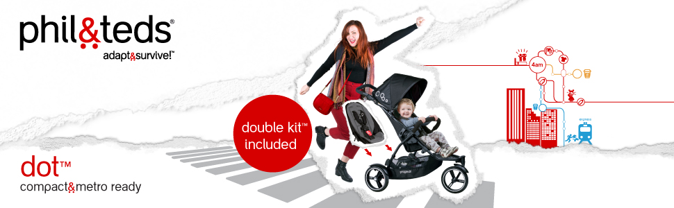dot stroller for single to double with free double kit included.