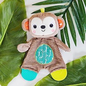 monkey teether stuffed animal plush soothe