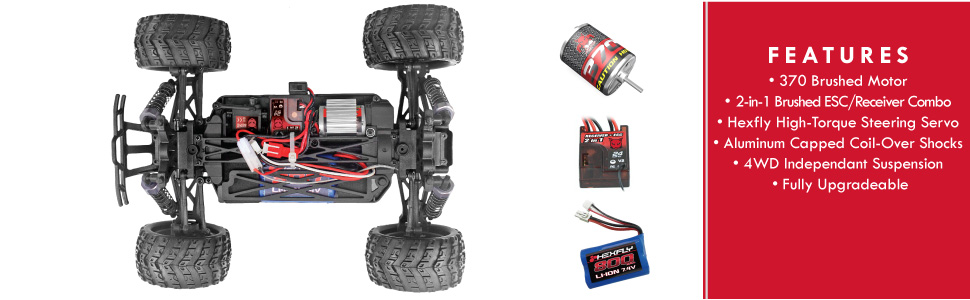 Redcat Racing Volcano 18 V2 Electric Monster Truck With Waterproof Electronics 1 18th Scale Red Redcat Racing Amazon Ca Toys Games
