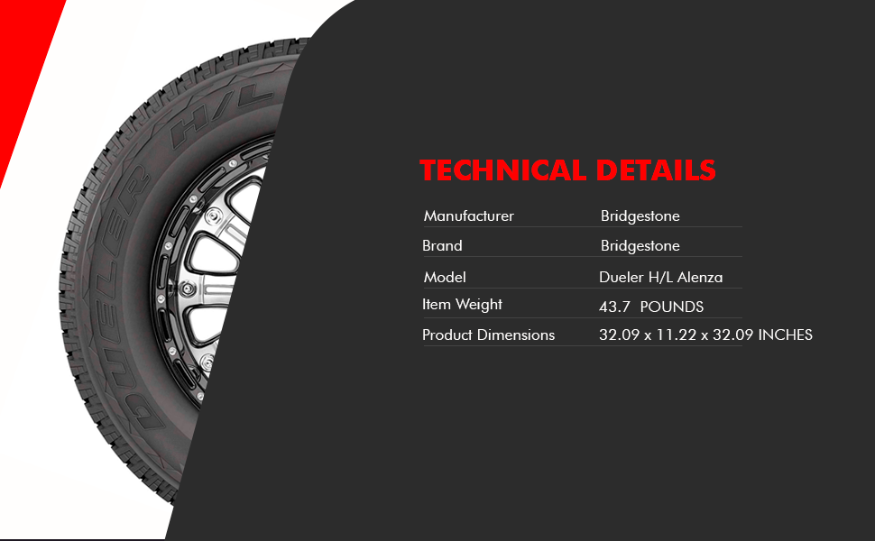 275//55R20 111H Bridgestone Dueler H//L Alenza Plus All-Season Radial Tire
