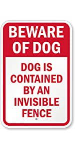 Beware of Dog Security Sign, Attack/Guard Dog, Invisible Fence, Private Property
